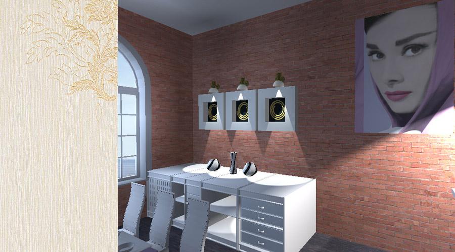 projekt wnętrza pomieszczenia w loftach
