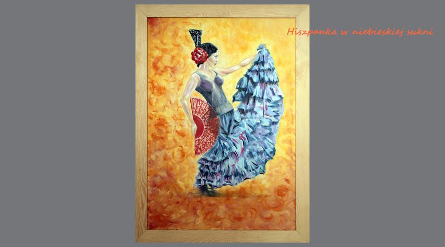 Obraz olejny: Hiszpanka w niebieskiej sukni
