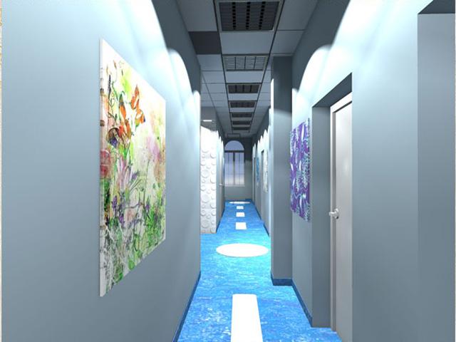 wystrój korytarza w przychodni zdrowia