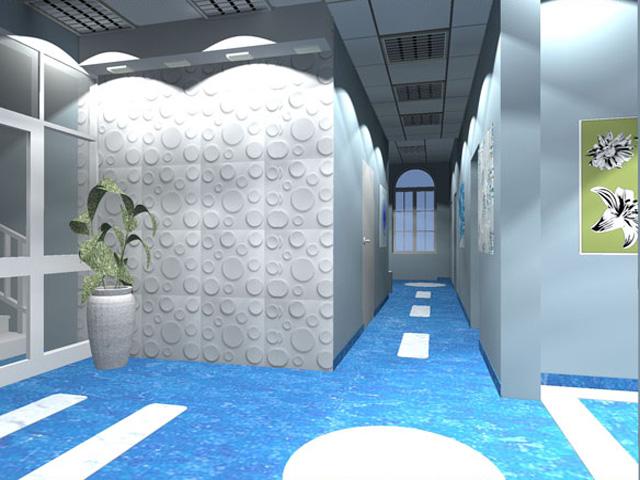 aranżacja korytarza w przychodni zdrowia