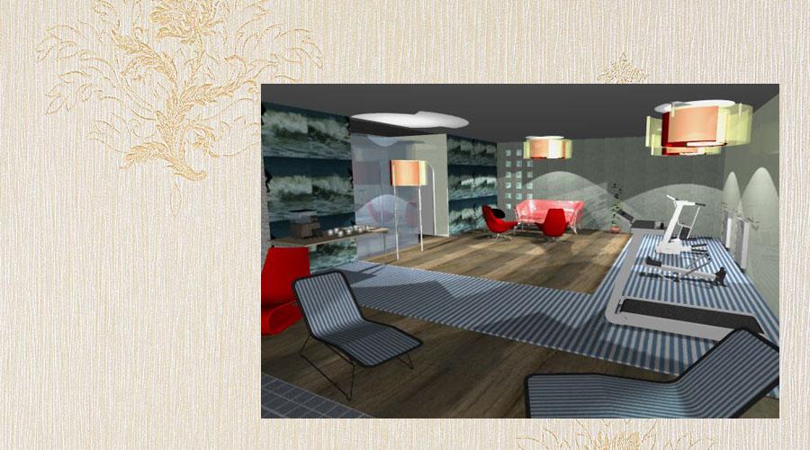 projekt wnętrza sali do ćwiczeń