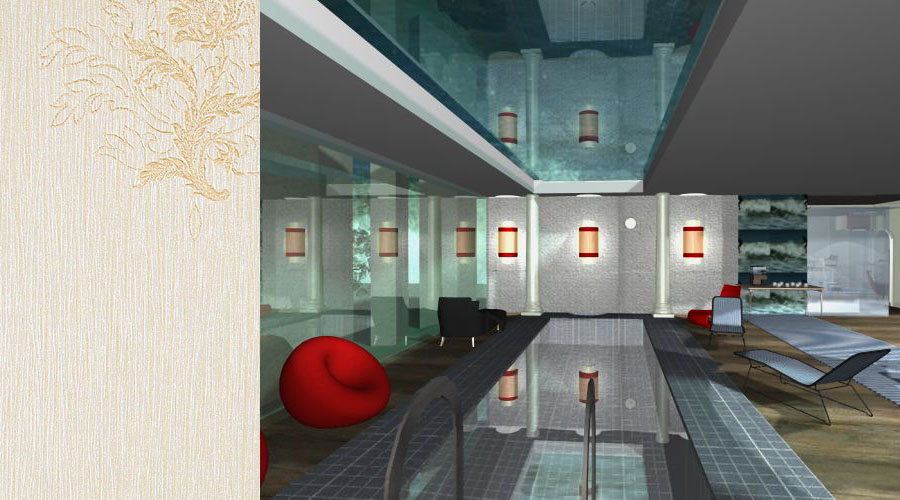 wizualizacja 3D pomieszczenia rekreacyjnego