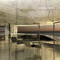 Wizualizacja domu nad morzem w różnych warunkach oświetlenia