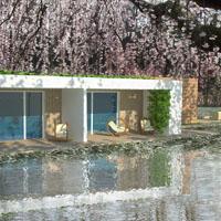 Wizualizacja domu nad jeziorem - rendering 3D